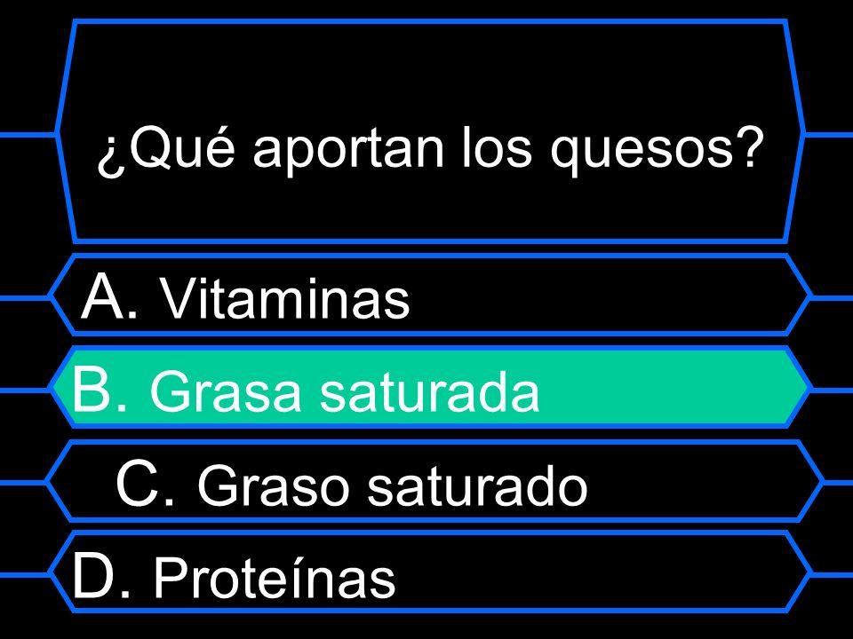 ¿Qué aportan los quesos? A. Vitaminas B. Grasa saturada C. Graso saturado D. Proteínas