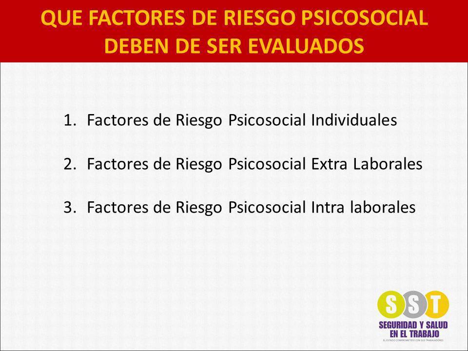 QUE FACTORES DE RIESGO PSICOSOCIAL DEBEN DE SER EVALUADOS 1.Factores de Riesgo Psicosocial Individuales 2.Factores de Riesgo Psicosocial Extra Laboral