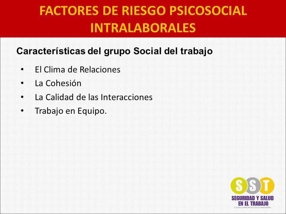 El Clima de Relaciones La Cohesión La Calidad de las Interacciones Trabajo en Equipo. FACTORES DE RIESGO PSICOSOCIAL INTRALABORALES Características de