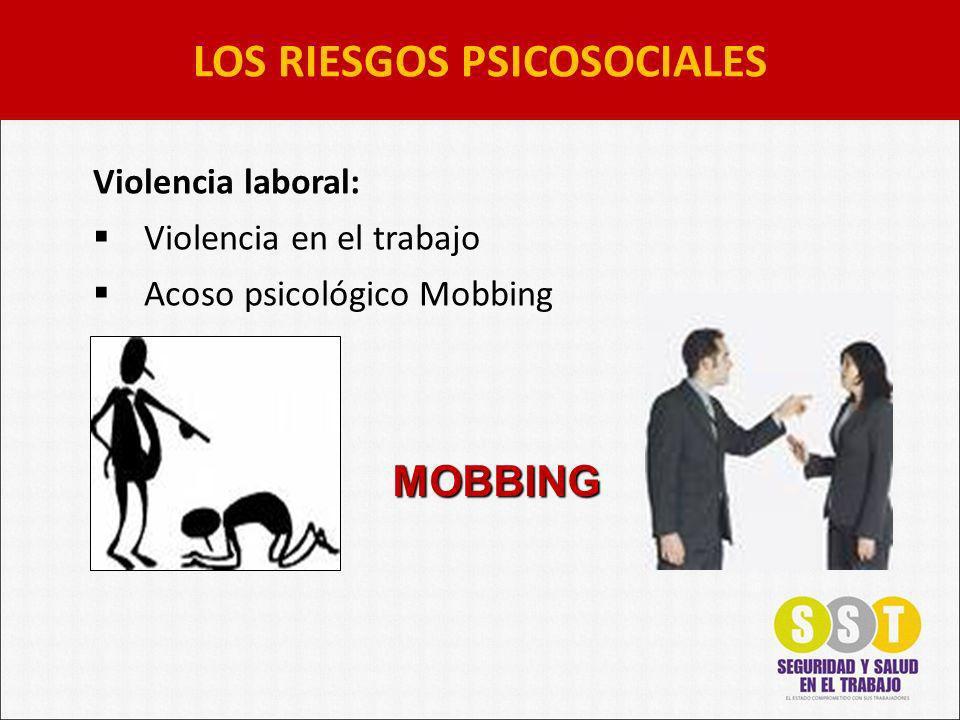 LOS RIESGOS PSICOSOCIALES Violencia laboral: Violencia en el trabajo Acoso psicológico Mobbing MOBBING