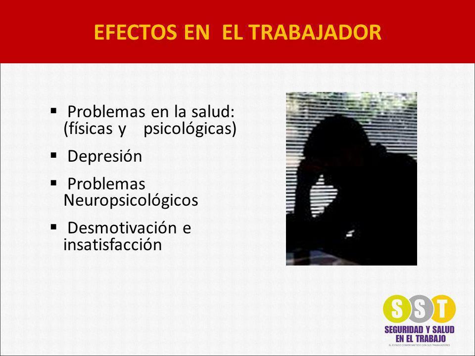 Problemas en la salud: (físicas y psicológicas) Depresión Problemas Neuropsicológicos Desmotivación e insatisfacción EFECTOS EN EL TRABAJADOR