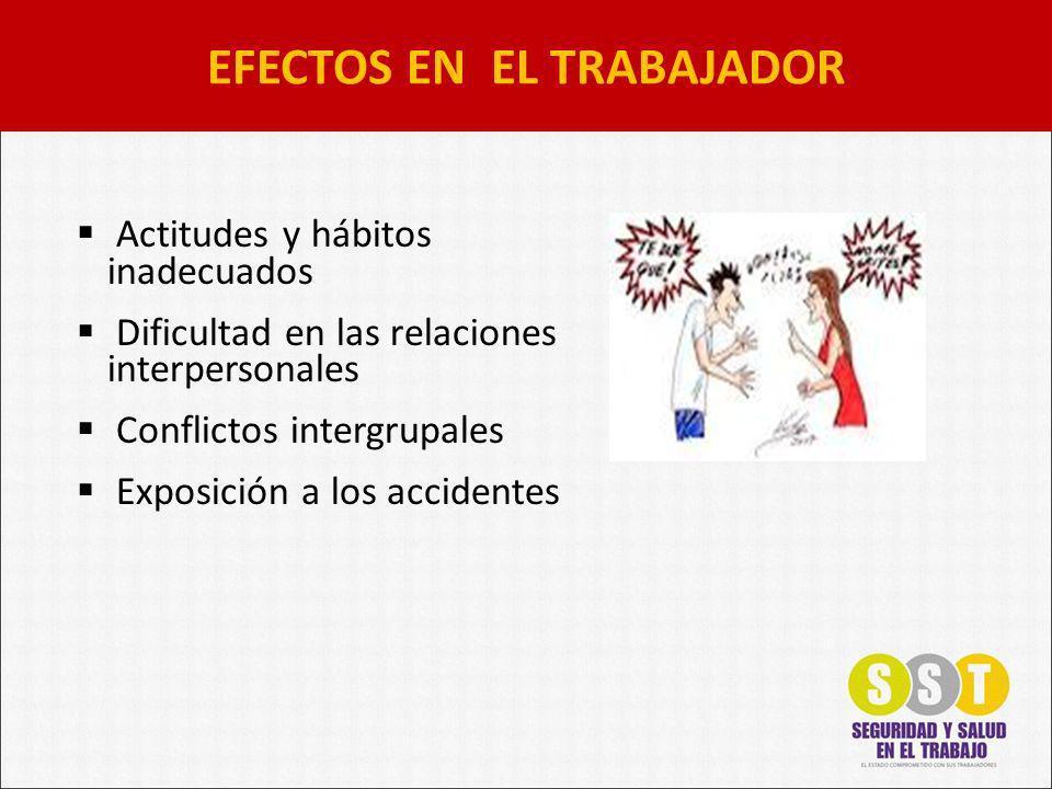 Actitudes y hábitos inadecuados Dificultad en las relaciones interpersonales Conflictos intergrupales Exposición a los accidentes EFECTOS EN EL TRABAJADOR