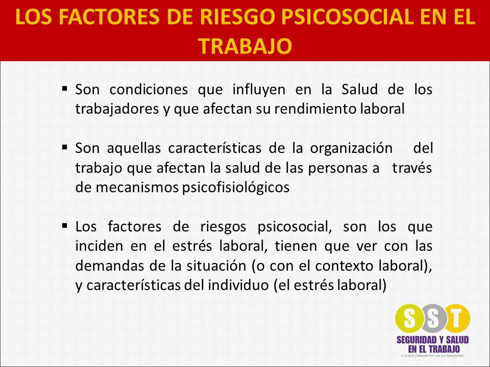 LOS FACTORES DE RIESGO PSICOSOCIAL EN EL TRABAJO Son condiciones que influyen en la Salud de los trabajadores y que afectan su rendimiento laboral Son