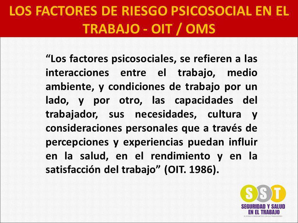 Los factores psicosociales, se refieren a las interacciones entre el trabajo, medio ambiente, y condiciones de trabajo por un lado, y por otro, las capacidades del trabajador, sus necesidades, cultura y consideraciones personales que a través de percepciones y experiencias puedan influir en la salud, en el rendimiento y en la satisfacción del trabajo (OIT.