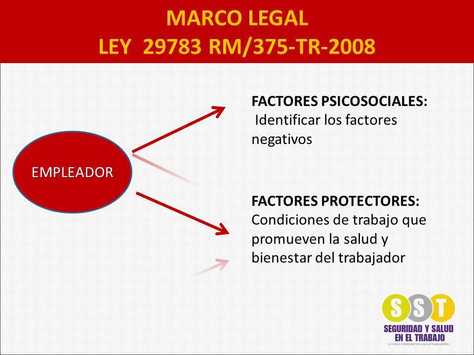 MARCO LEGAL LEY 29783 RM/375-TR-2008 FACTORES PSICOSOCIALES: Identificar los factores negativos FACTORES PROTECTORES: Condiciones de trabajo que promueven la salud y bienestar del trabajador EMPLEADOR