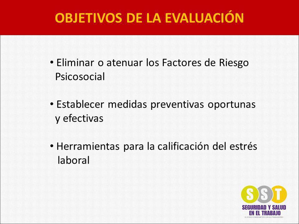 OBJETIVOS DE LA EVALUACIÓN Eliminar o atenuar los Factores de Riesgo Psicosocial Establecer medidas preventivas oportunas y efectivas Herramientas para la calificación del estrés laboral
