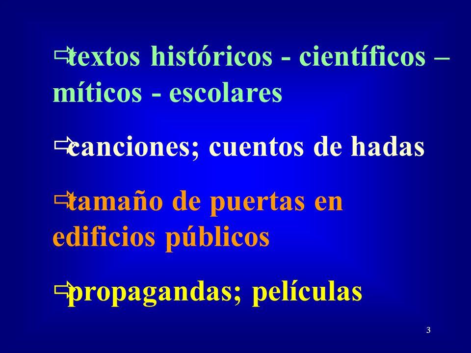 3 textos históricos - científicos – míticos - escolares canciones; cuentos de hadas tamaño de puertas en edificios públicos propagandas; películas