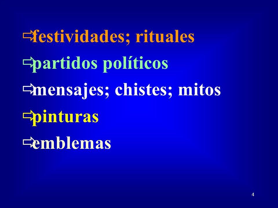 4 festividades; rituales partidos políticos mensajes; chistes; mitos pinturas emblemas