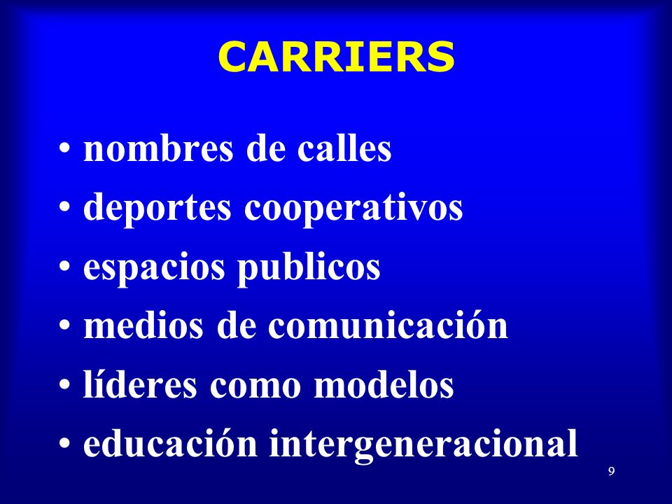 9 CARRIERS nombres de calles deportes cooperativos espacios publicos medios de comunicación líderes como modelos educación intergeneracional