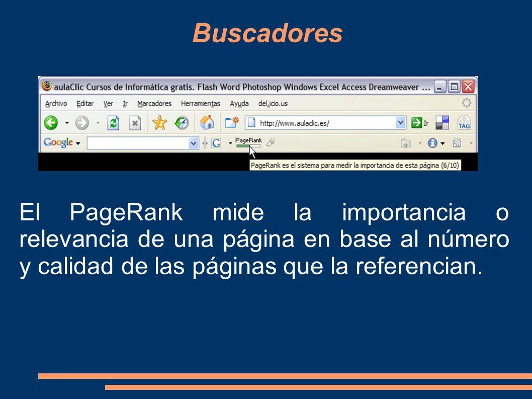 El PageRank mide la importancia o relevancia de una página en base al número y calidad de las páginas que la referencian.