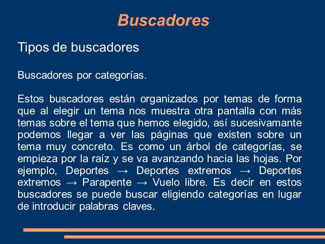 Buscadores Tipos de buscadores Buscadores por categorías.