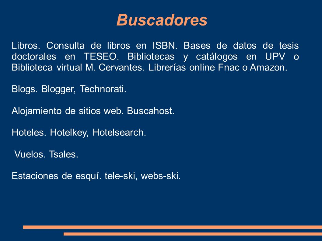 Buscadores Libros. Consulta de libros en ISBN. Bases de datos de tesis doctorales en TESEO. Bibliotecas y catálogos en UPV o Biblioteca virtual M. Cer