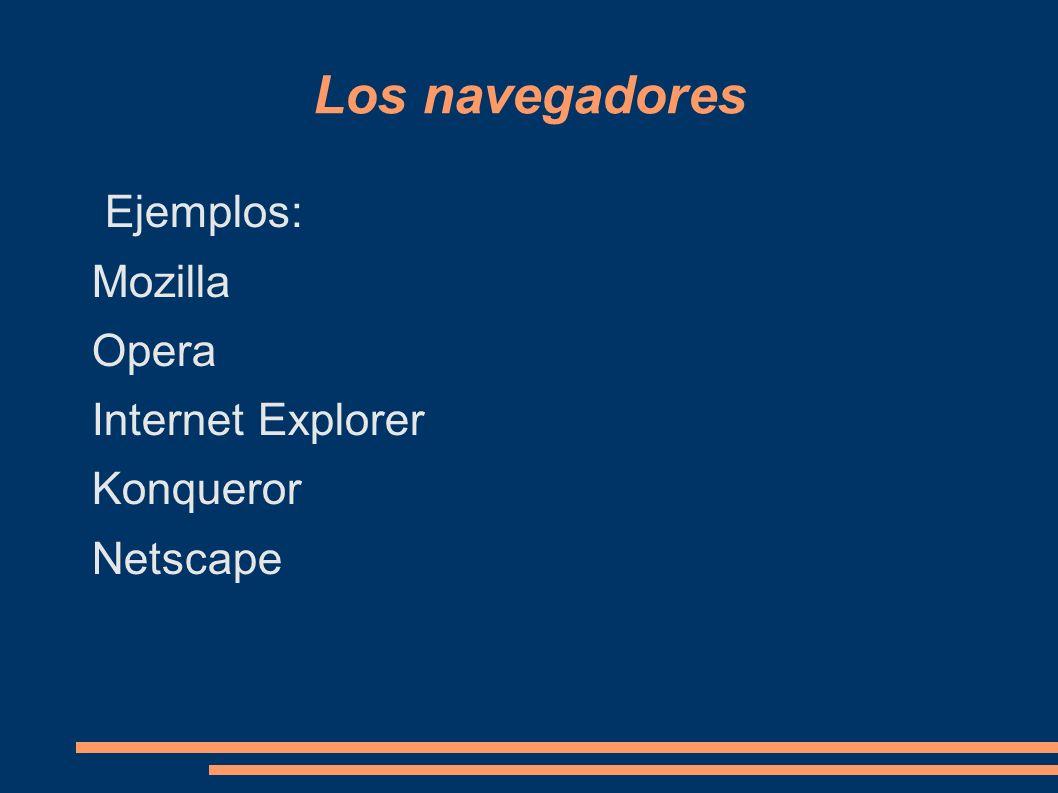 Los navegadores Ejemplos: Mozilla Opera Internet Explorer Konqueror Netscape