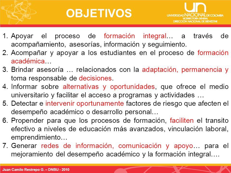 Juan Camilo Restrepo G.– DNBU - 2010 1.Adaptación a la vida universitaria...