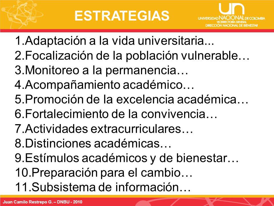 Juan Camilo Restrepo G. – DNBU - 2010 1.Adaptación a la vida universitaria...