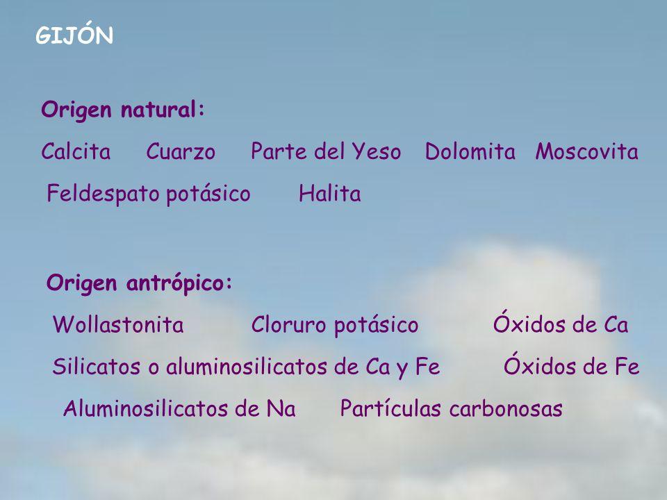 GIJÓN Origen natural: CalcitaCuarzoParte del YesoDolomitaMoscovita Feldespato potásico Halita Origen antrópico: Wollastonita Cloruro potásicoÓxidos de