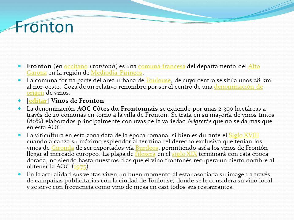 Fronton Fronton (en occitano Frontonh) es una comuna francesa del departamento del Alto Garona en la región de Mediodía-Pirineos.occitanocomuna france