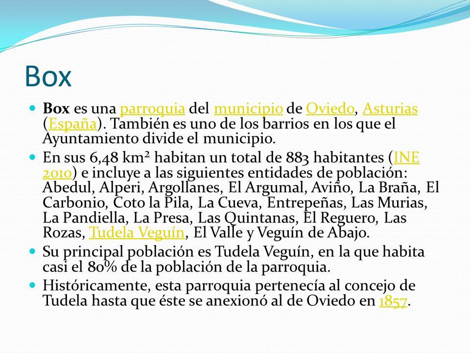 Box Box es una parroquia del municipio de Oviedo, Asturias (España). También es uno de los barrios en los que el Ayuntamiento divide el municipio.parr