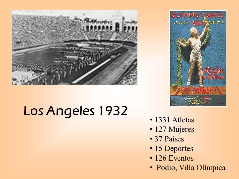 Los Angeles 1932 1331 Atletas 127 Mujeres 37 Paises 15 Deportes 126 Eventos Podio, Villa Olímpica