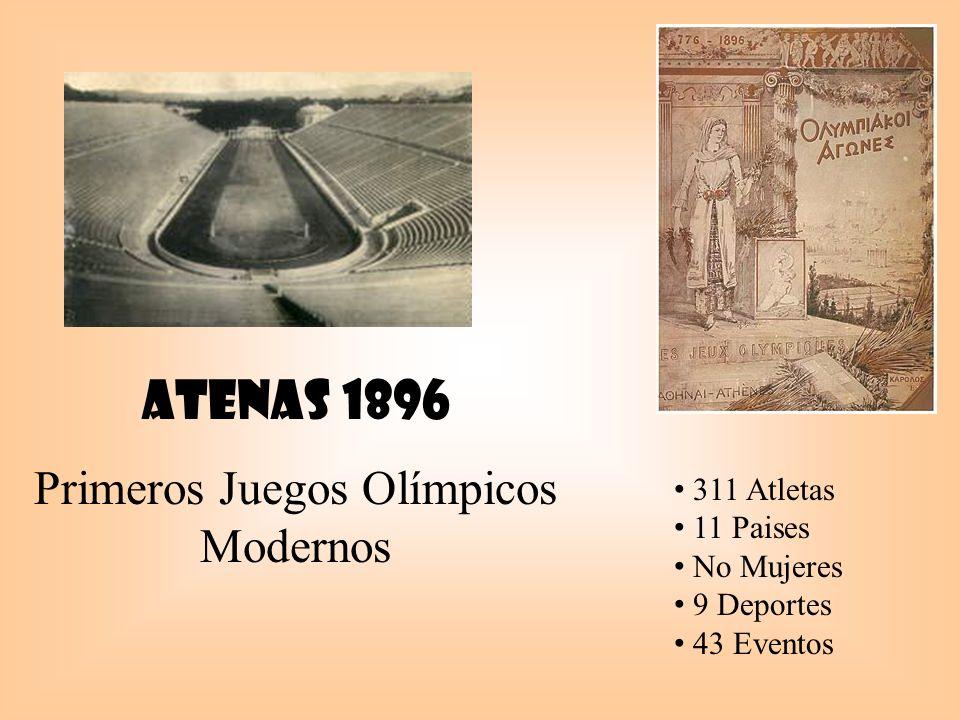Atenas 1896 Primeros Juegos Olímpicos Modernos 311 Atletas 11 Paises No Mujeres 9 Deportes 43 Eventos