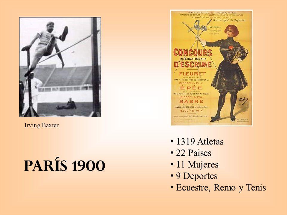 París 1900 1319 Atletas 22 Paises 11 Mujeres 9 Deportes Ecuestre, Remo y Tenis Irving Baxter