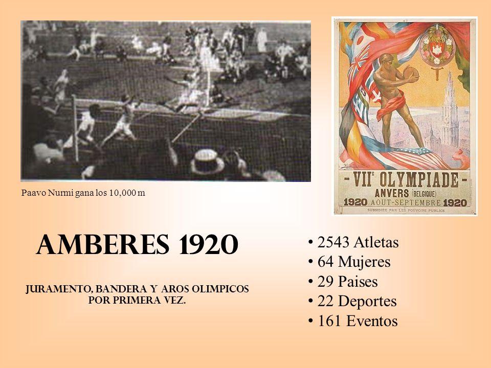 Amberes 1920 Juramento, Bandera y aros olimpicos por primera vez.