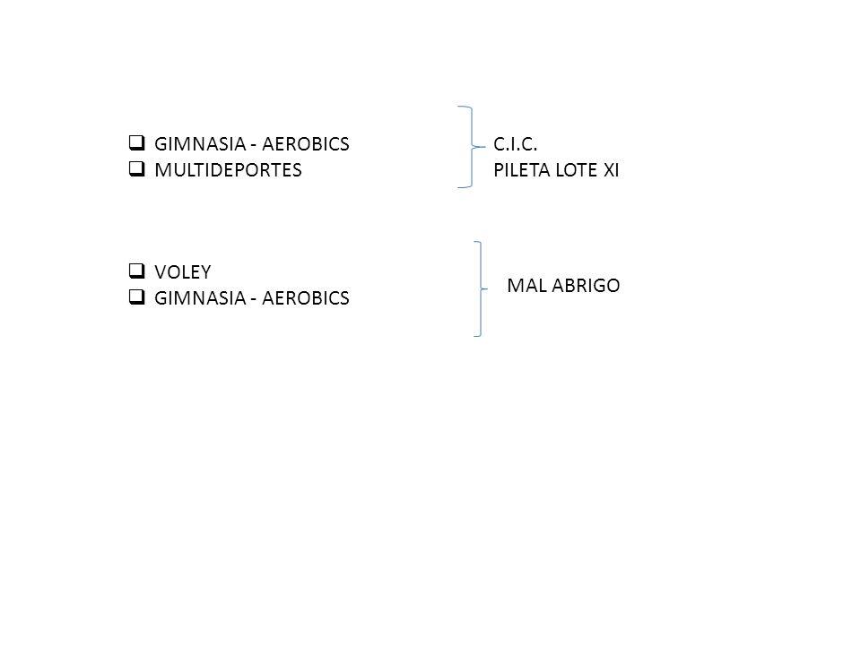 GIMNASIA - AEROBICS MULTIDEPORTES C.I.C. PILETA LOTE XI VOLEY GIMNASIA - AEROBICS MAL ABRIGO