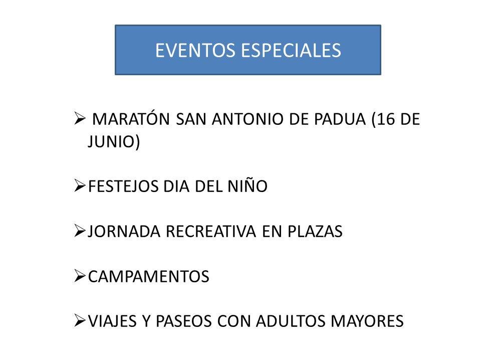 EVENTOS ESPECIALES MARATÓN SAN ANTONIO DE PADUA (16 DE JUNIO) FESTEJOS DIA DEL NIÑO JORNADA RECREATIVA EN PLAZAS CAMPAMENTOS VIAJES Y PASEOS CON ADULTOS MAYORES