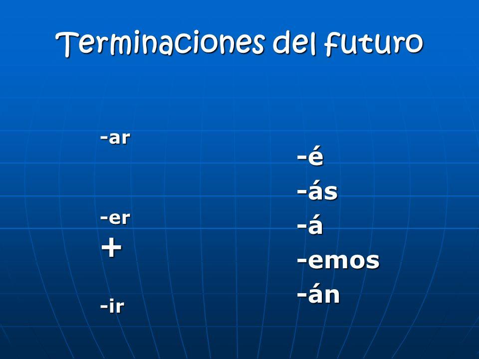 Terminaciones del futuro -ar -ar -er + -er + -ir -ir -é-ás-á-emos-án