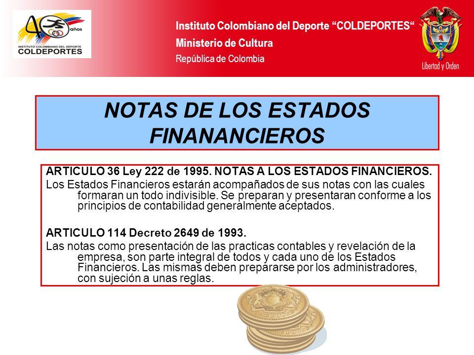 NOTAS DE LOS ESTADOS FINANANCIEROS ARTICULO 36 Ley 222 de 1995. NOTAS A LOS ESTADOS FINANCIEROS. Los Estados Financieros estarán acompañados de sus no