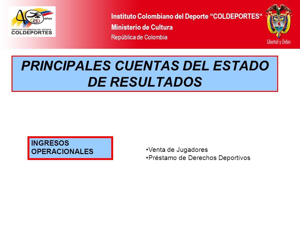 PRINCIPALES CUENTAS DEL ESTADO DE RESULTADOS Instituto Colombiano del Deporte COLDEPORTES Ministerio de Cultura República de Colombia INGRESOS OPERACI