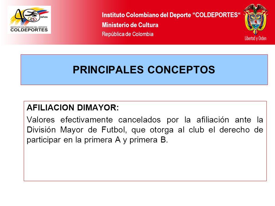 PRINCIPALES CONCEPTOS AFILIACION DIMAYOR: Valores efectivamente cancelados por la afiliación ante la División Mayor de Futbol, que otorga al club el d