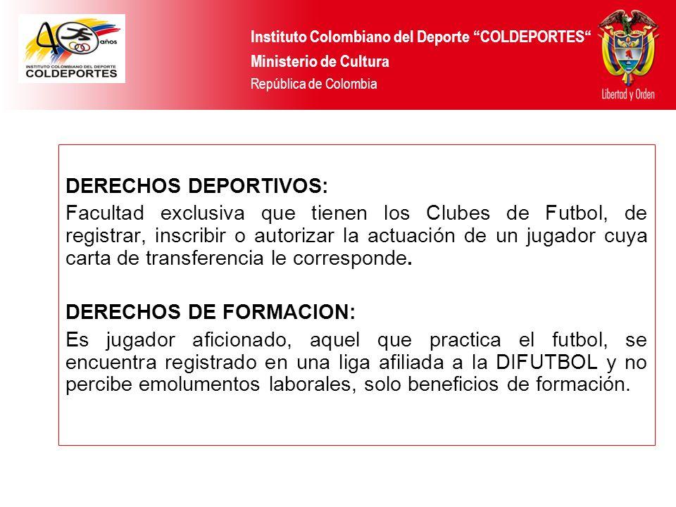 DERECHOS DEPORTIVOS: Facultad exclusiva que tienen los Clubes de Futbol, de registrar, inscribir o autorizar la actuación de un jugador cuya carta de