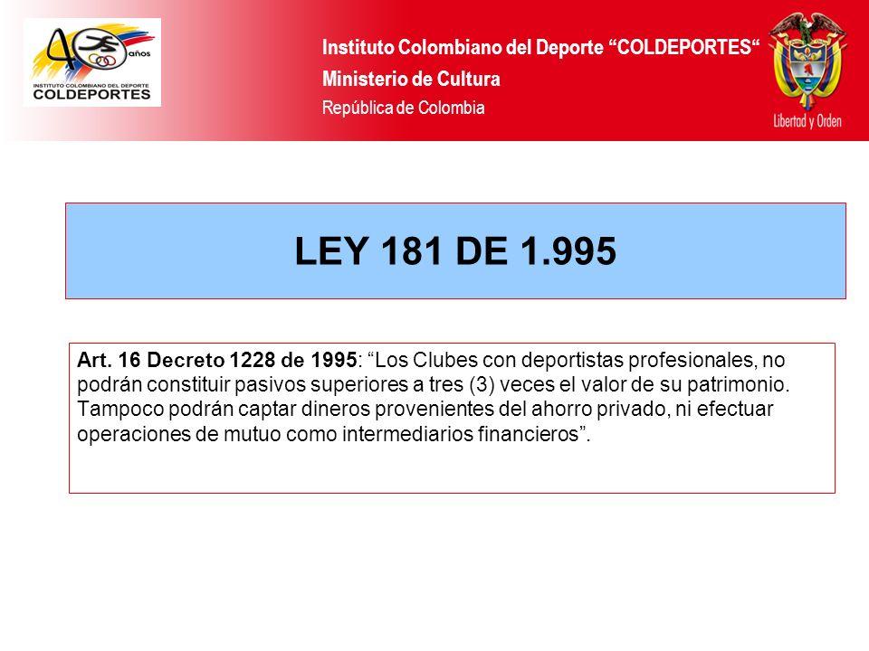 Art. 16 Decreto 1228 de 1995: Los Clubes con deportistas profesionales, no podrán constituir pasivos superiores a tres (3) veces el valor de su patrim
