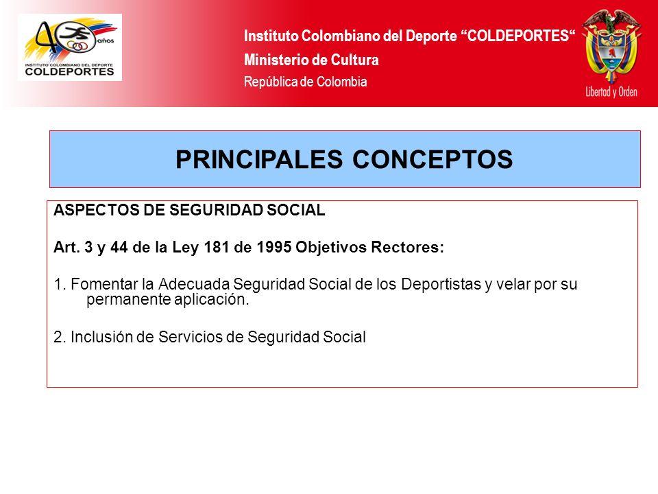 ASPECTOS DE SEGURIDAD SOCIAL Art. 3 y 44 de la Ley 181 de 1995 Objetivos Rectores: 1. Fomentar la Adecuada Seguridad Social de los Deportistas y velar
