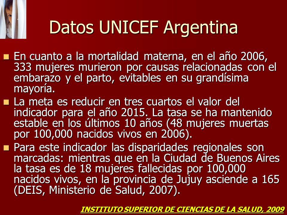 Datos UNICEF Argentina En cuanto a la mortalidad materna, en el año 2006, 333 mujeres murieron por causas relacionadas con el embarazo y el parto, evi