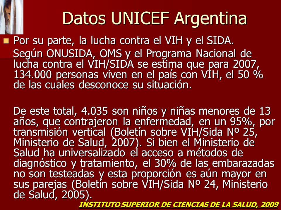 Datos UNICEF Argentina Por su parte, la lucha contra el VIH y el SIDA. Por su parte, la lucha contra el VIH y el SIDA. Según ONUSIDA, OMS y el Program
