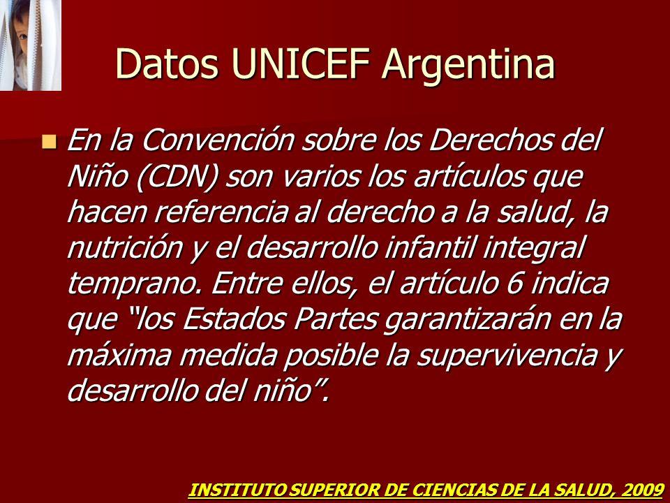Datos UNICEF Argentina En la Convención sobre los Derechos del Niño (CDN) son varios los artículos que hacen referencia al derecho a la salud, la nutr