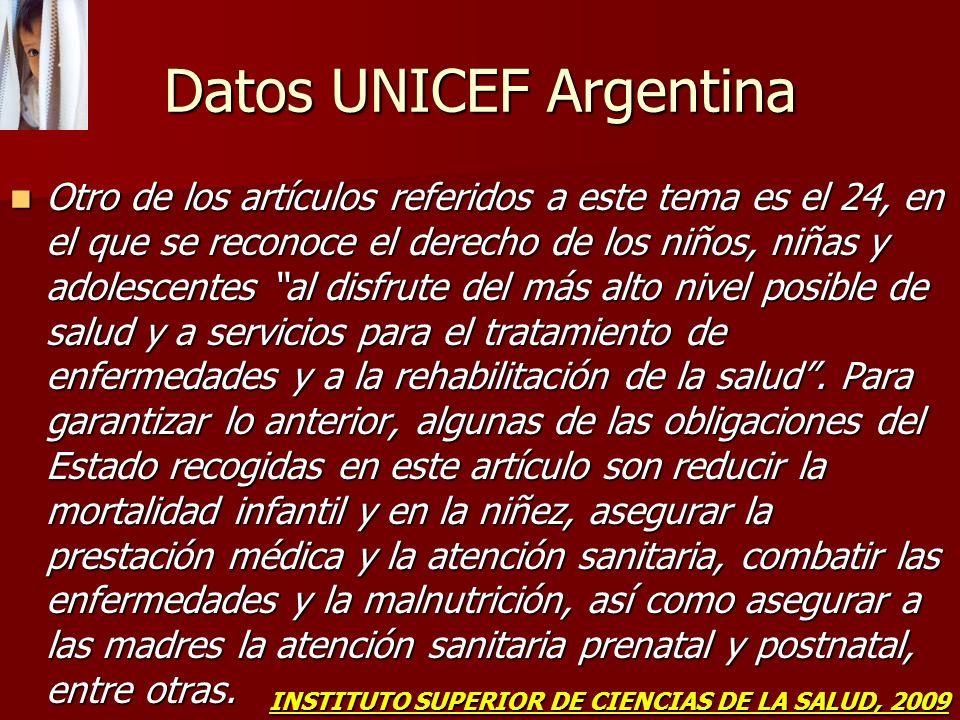 Datos UNICEF Argentina Otro de los artículos referidos a este tema es el 24, en el que se reconoce el derecho de los niños, niñas y adolescentes al di