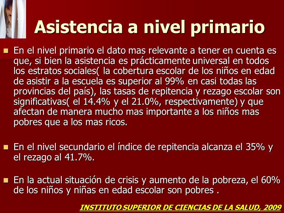 Asistencia a nivel primario Asistencia a nivel primario En el nivel primario el dato mas relevante a tener en cuenta es que, si bien la asistencia es