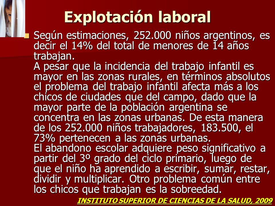 Explotación laboral Según estimaciones, 252.000 niños argentinos, es decir el 14% del total de menores de 14 años trabajan. A pesar que la incidencia