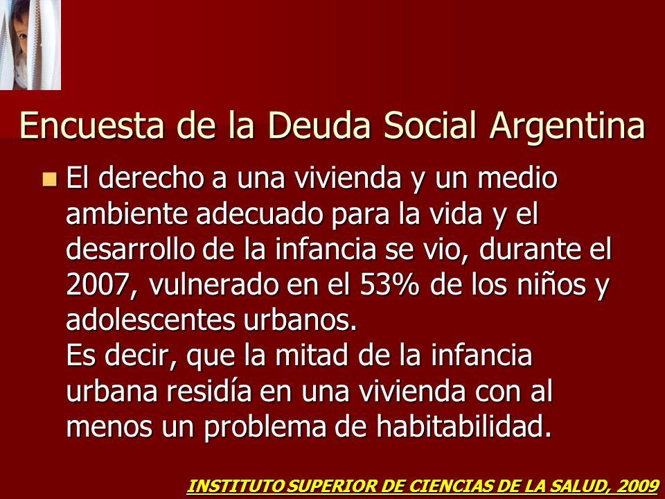 Encuesta de la Deuda Social Argentina El derecho a una vivienda y un medio ambiente adecuado para la vida y el desarrollo de la infancia se vio, duran