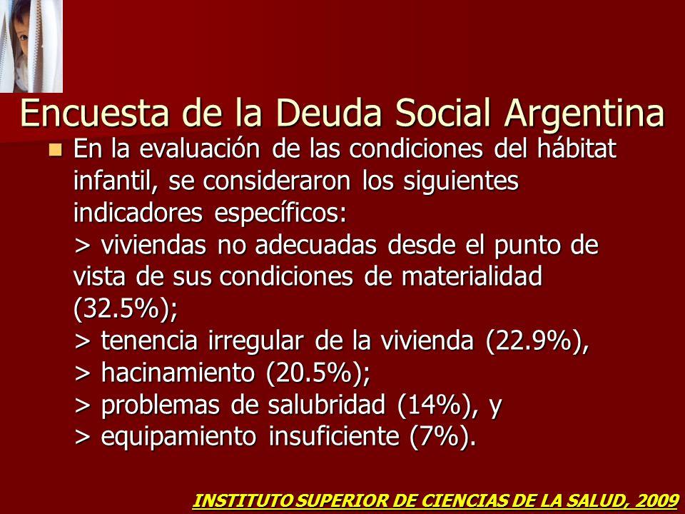 Encuesta de la Deuda Social Argentina En la evaluación de las condiciones del hábitat infantil, se consideraron los siguientes indicadores específicos