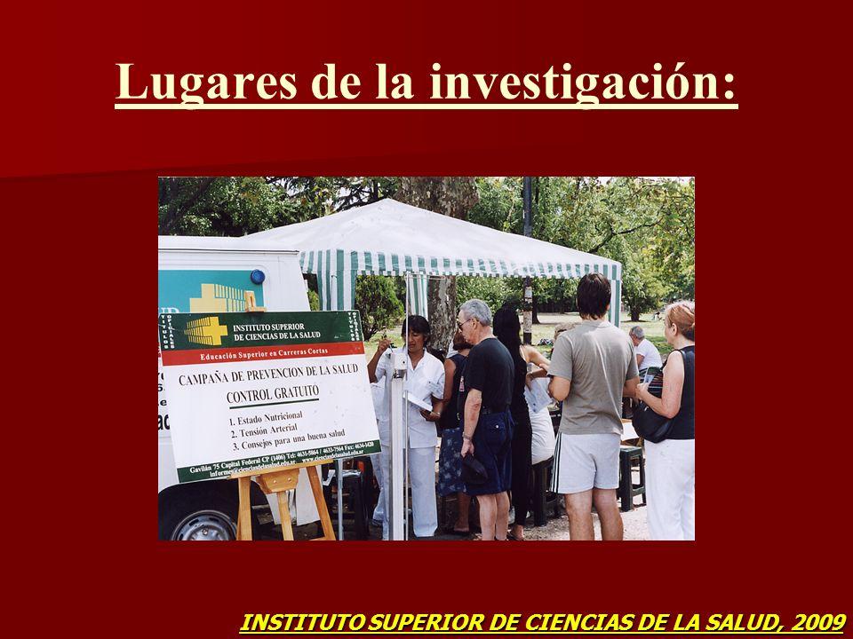 Lugares de la investigación: INSTITUTO SUPERIOR DE CIENCIAS DE LA SALUD, 2009