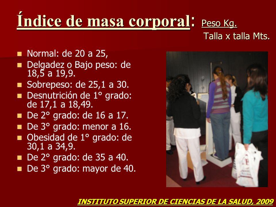 Índice de masa corporal : Peso Kg. Talla x talla Mts. Normal: de 20 a 25, Delgadez o Bajo peso: de 18,5 a 19,9. Sobrepeso: de 25,1 a 30. Desnutrición