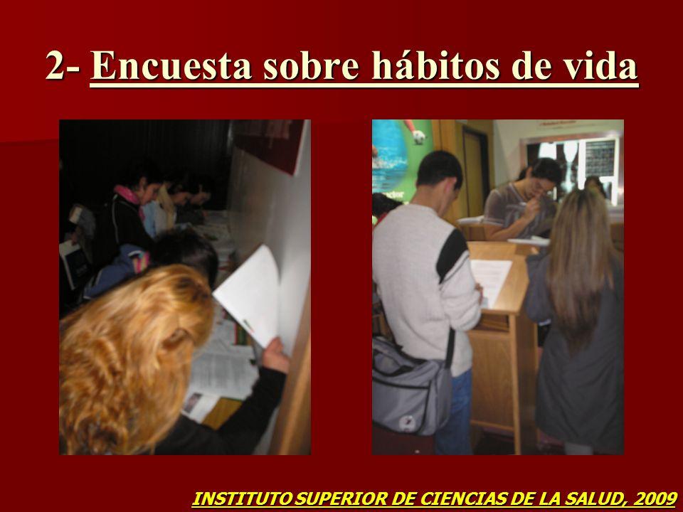 2- Encuesta sobre hábitos de vida INSTITUTO SUPERIOR DE CIENCIAS DE LA SALUD, 2009