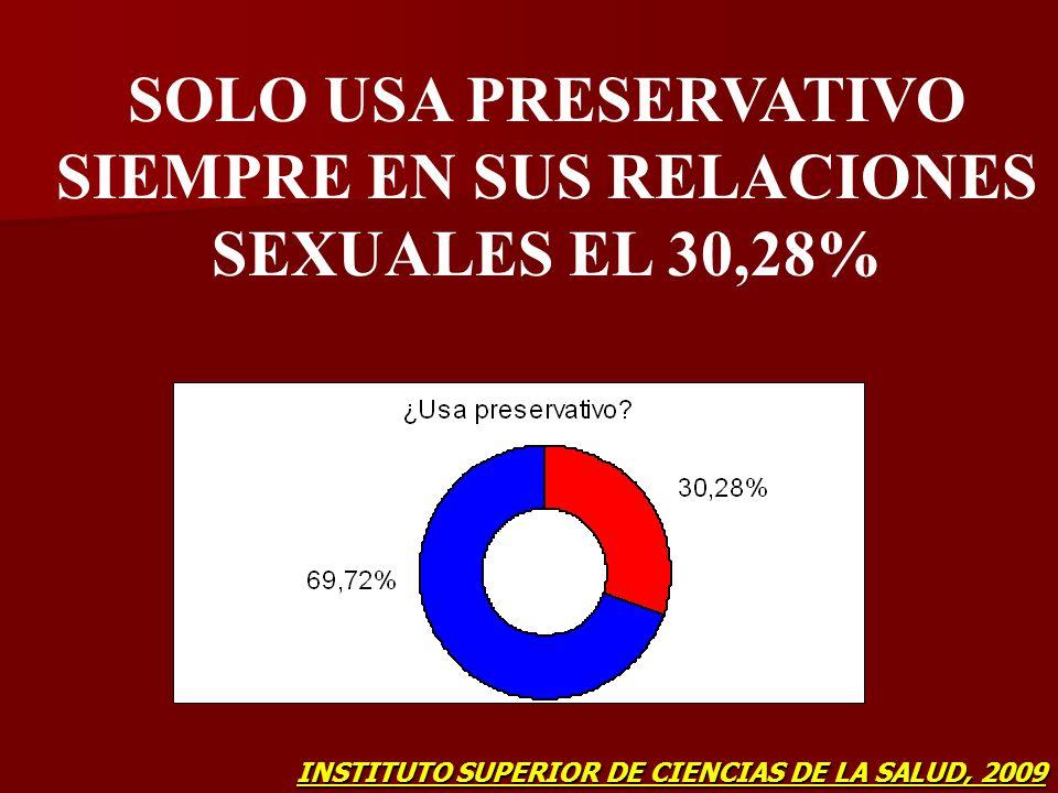 SOLO USA PRESERVATIVO SIEMPRE EN SUS RELACIONES SEXUALES EL 30,28% INSTITUTO SUPERIOR DE CIENCIAS DE LA SALUD, 2009