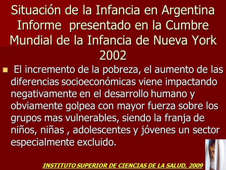 Situación de la Infancia en Argentina Informe presentado en la Cumbre Mundial de la Infancia de Nueva York 2002 El incremento de la pobreza, el aument