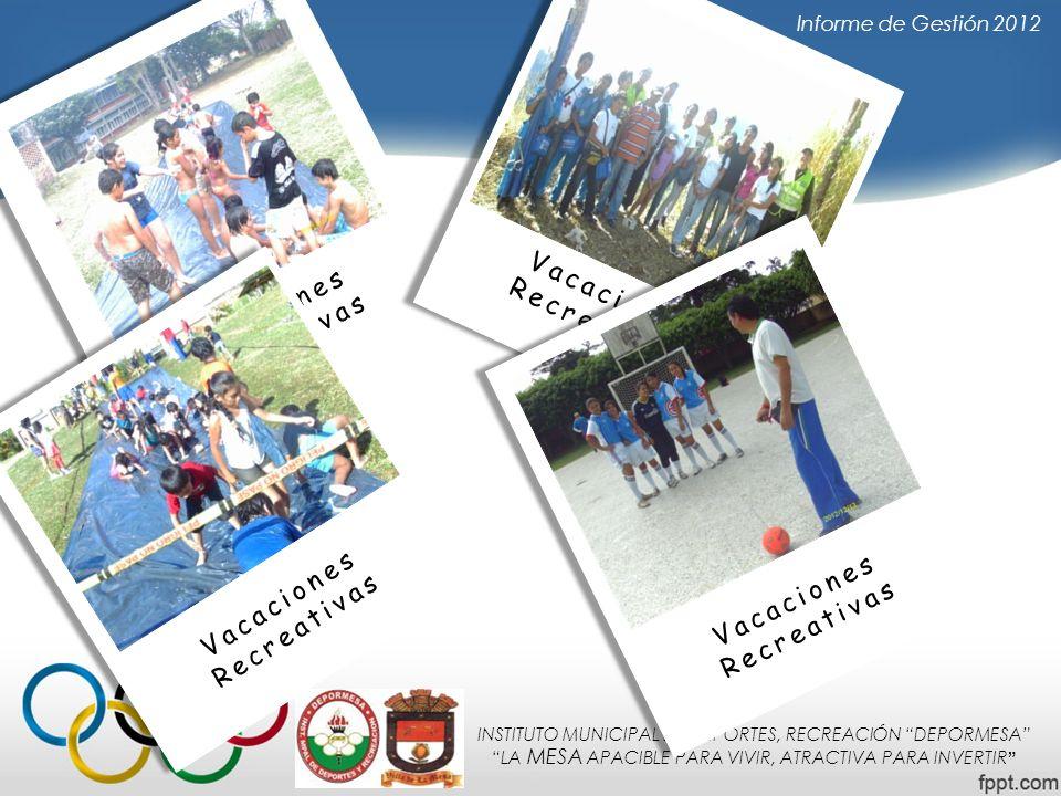 INSTITUTO MUNICIPAL DE DEPORTES, RECREACIÓN DEPORMESA LA MESA APACIBLE PARA VIVIR, ATRACTIVA PARA INVERTIR Informe de Gestión 2012 Vacaciones Recreati