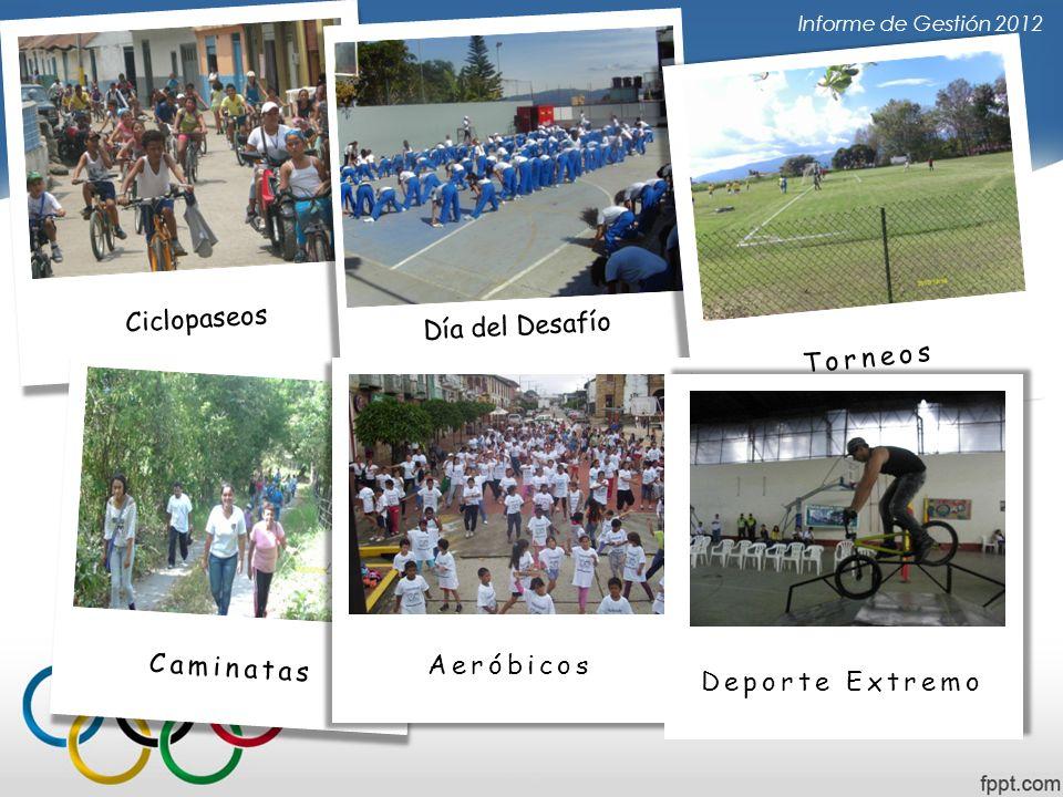Informe de Gestión 2012 Ciclopaseos Día del Desafío Torneos Caminatas Aeróbicos Deporte Extremo
